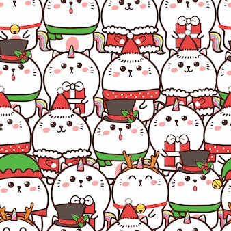 Cute cat unicorn seamless pattern for christmas