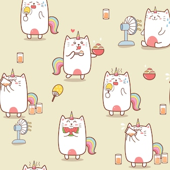 Cute cat unicorn summer cartoon seamless pattern.