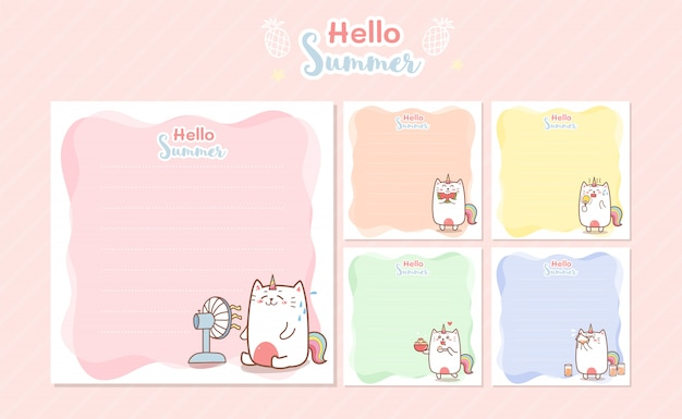 Cute cat unicorn summer memo notes template for greeting scrap booking