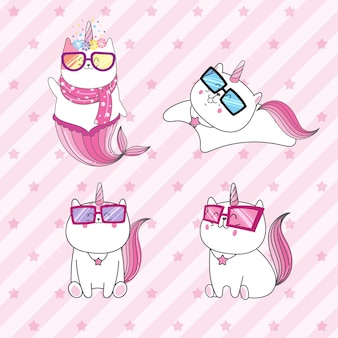 Cute cat unicorn