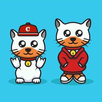Cute cat urban culture style mascot design