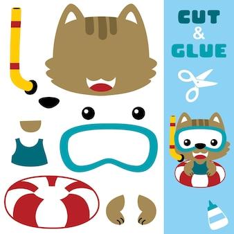 Милый кот, использующий водолазное снаряжение на спасательном круге. бумажная игра для детей. вырезка и склейка.