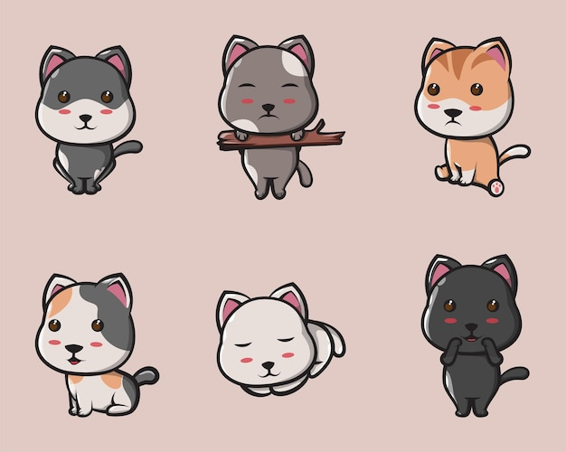 로고, 포스터, 아이콘 및 마스코트에 대한 귀여운 고양이 다양한 표현
