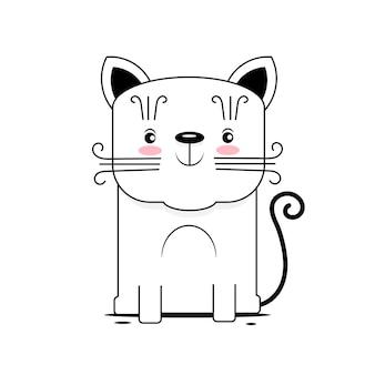 귀여운 고양이 벡터 디자인입니다. 학교 책 등을 위한 어린이 그림입니다. 야옹 슬로건. 흰색 바탕에 동물 재고 그림입니다. 디자인, 장식, 로고.
