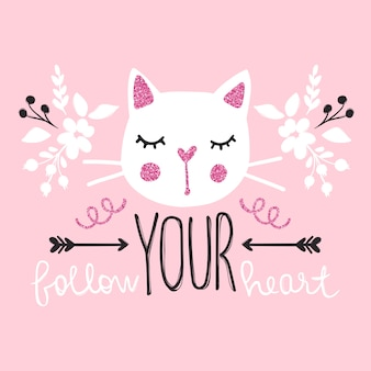 Cute cat vector illustration. girly kittens. fashion cat's face.