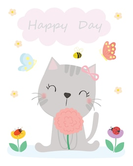 Cute cat vector. t-shirt design. greeting card.