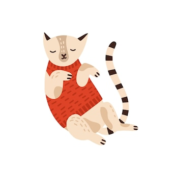 Cute cat in warm sweater flat vector illustration. sleepy kitty wearing cozy autumn clothes stylized design element isolated on white. cartoon adorable pet animal sticker, t shirt print drawing.