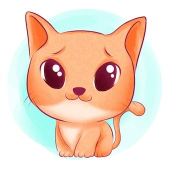 Симпатичный кот акварельная иллюстрация