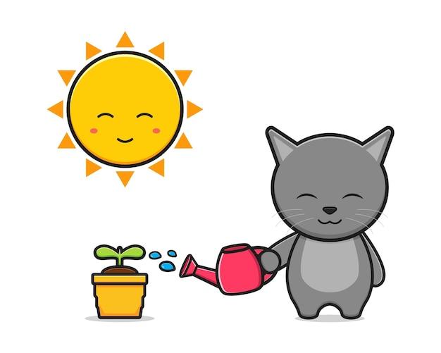 귀여운 고양이 급수 식물 만화 아이콘 그림입니다. 디자인 고립 된 평면 만화 스타일