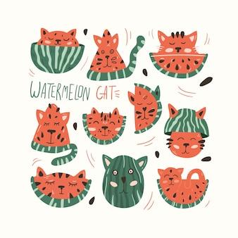 Cute cat and watermelon