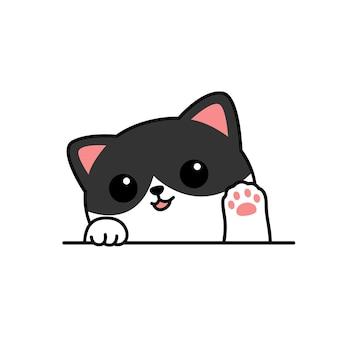 Cute cat waving paw cartoon, vector illustration