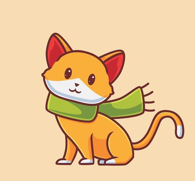 스카프를 입고 귀여운 고양이 격리 된 만화 동물 가을 시즌 개념 그림 플랫 스타일