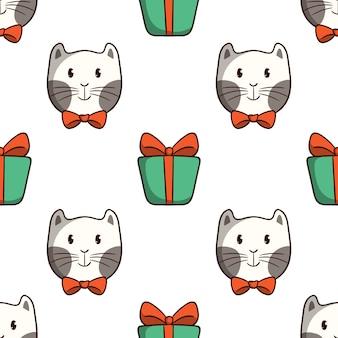 白い背景の上の色の落書きスタイルのシームレスなパターンでギフトボックスとネクタイを着てかわいい猫