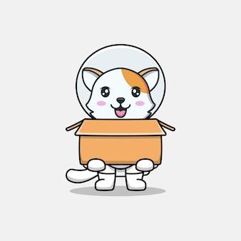 Милый кот в костюме космонавта с картоном