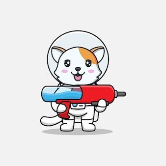 Милый кот в костюме космонавта с ружьем