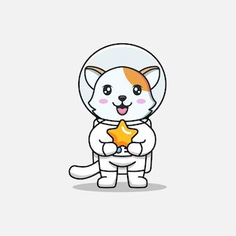 Милый кот в костюме космонавта со звездой