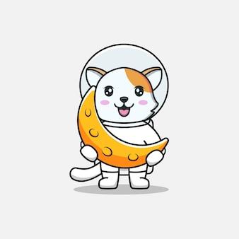 Милый кот в костюме космонавта с луной