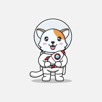 Милый кот в костюме космонавта с ракетной игрушкой