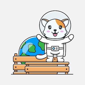 Милый кот в костюме космонавта с моделью планеты земля