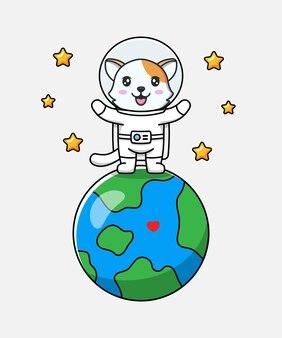 Милый кот в костюме космонавта с некоторыми звездами
