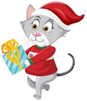 クリスマスの帽子の漫画のキャラクターを身に着けているかわいい猫