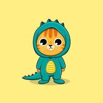 恐竜の衣装漫画ベクトルアイコンイラストを身に着けているかわいい猫
