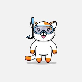 Милый кот в очках для дайвинга