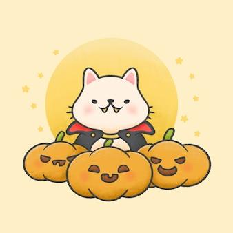 Милый кот в костюме дракулы с тыквами