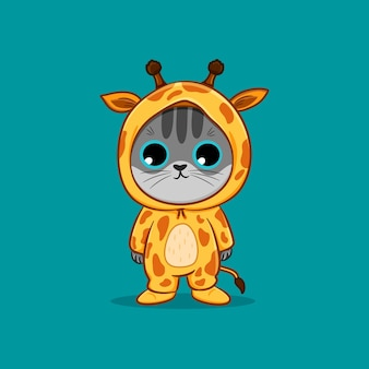 Cute cat wearing giraffe costume cartoon vector icon illustration