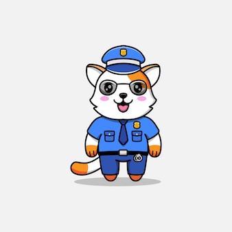 Милый кот в полицейской форме