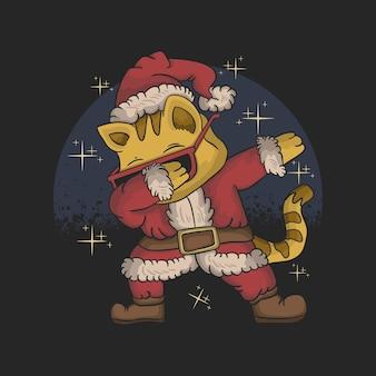 Cute cat wearing santa costume and dabbing dance illustration