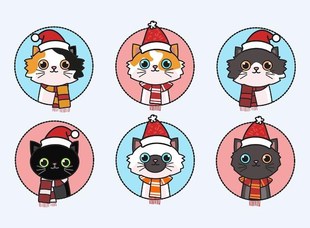산타 모자를 쓰고 귀여운 고양이. 스카프 일러스트와 함께 고양이입니다.