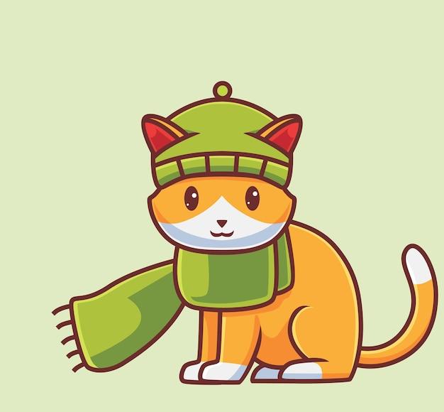 스카프 balaclava를 입고 귀여운 고양이 격리 된 만화 동물 가을 시즌 그림 플랫 스타일