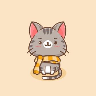 Милый кот в шарфе мультипликационный персонаж