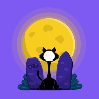 Милый кот в маске черепа на надгробии в ночь хэллоуина