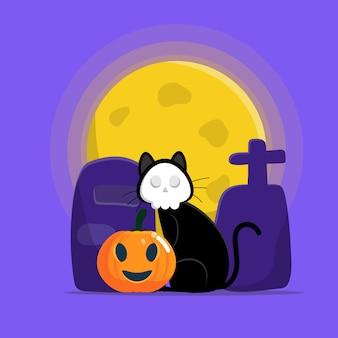 Милый кот в маске черепа сидит на надгробии с тыквой в ночь на хэллоуин