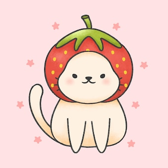 Cute cat wearing strawberry hat cartoon hand drawn style