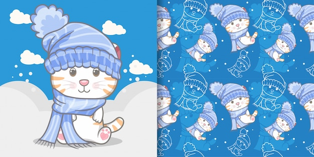 Cute cat on winter seamless pattern and illustration card