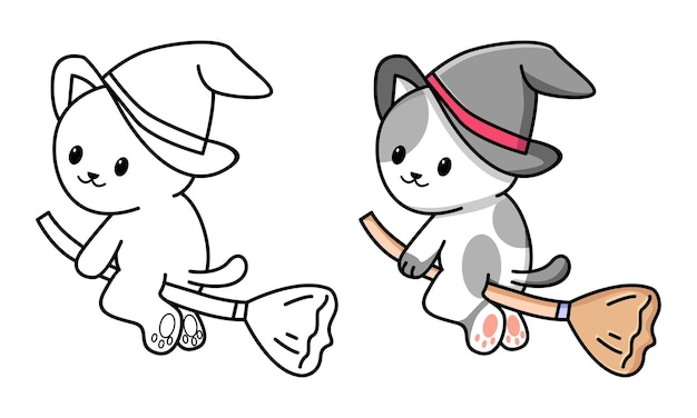 Cute cat witch coloring page for kids