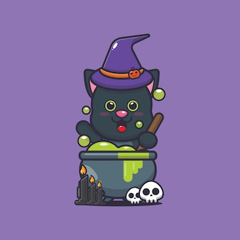 Cute cat witch making potions cute halloween cartoon illustration