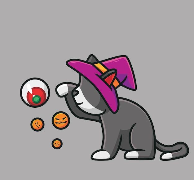 귀여운 고양이 마녀 재생 눈 공 만화 동물 할로윈 이벤트 개념 격리 된 그림