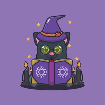 Cute cat witch reading spell book cute halloween cartoon illustration