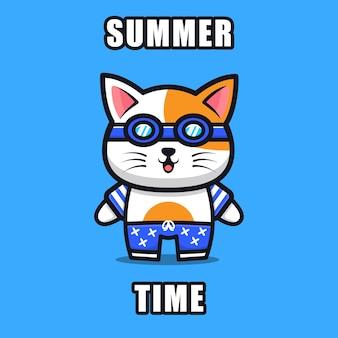 Милый кот с летней темой иллюстрации животная летняя концепция
