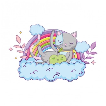 Cute cat with apple fresh and rainbow