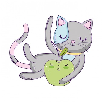 Cute cat with apple fresh