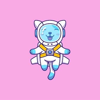 Cute cat with astronaut suit