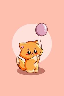 Милый кот с воздушным шаром иллюстрации шаржа