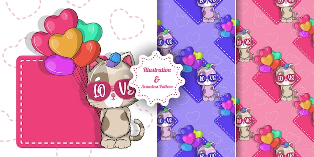 Cute cat with balloon hearts for valentine. invitation card and pattern set