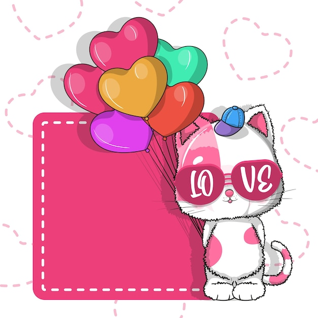 Cute cat with balloon hearts for valentine. invitation card