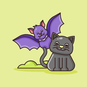 Милый кот с иллюстрацией летучей мыши.